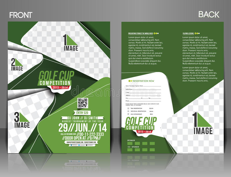 Golfturneringreklamblad royaltyfri illustrationer