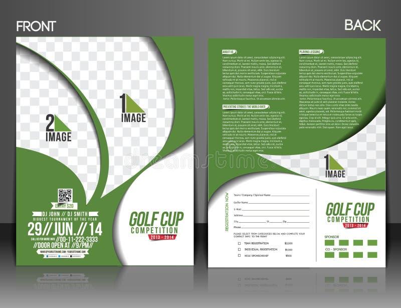 Golfturneringreklamblad vektor illustrationer