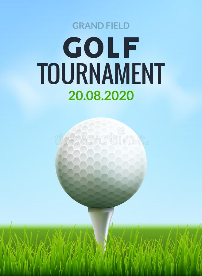 Golfturnierplakat-Schablonenflieger Golfball auf grünem Gras für Wettbewerb Sportverein-Vektordesign lizenzfreie abbildung