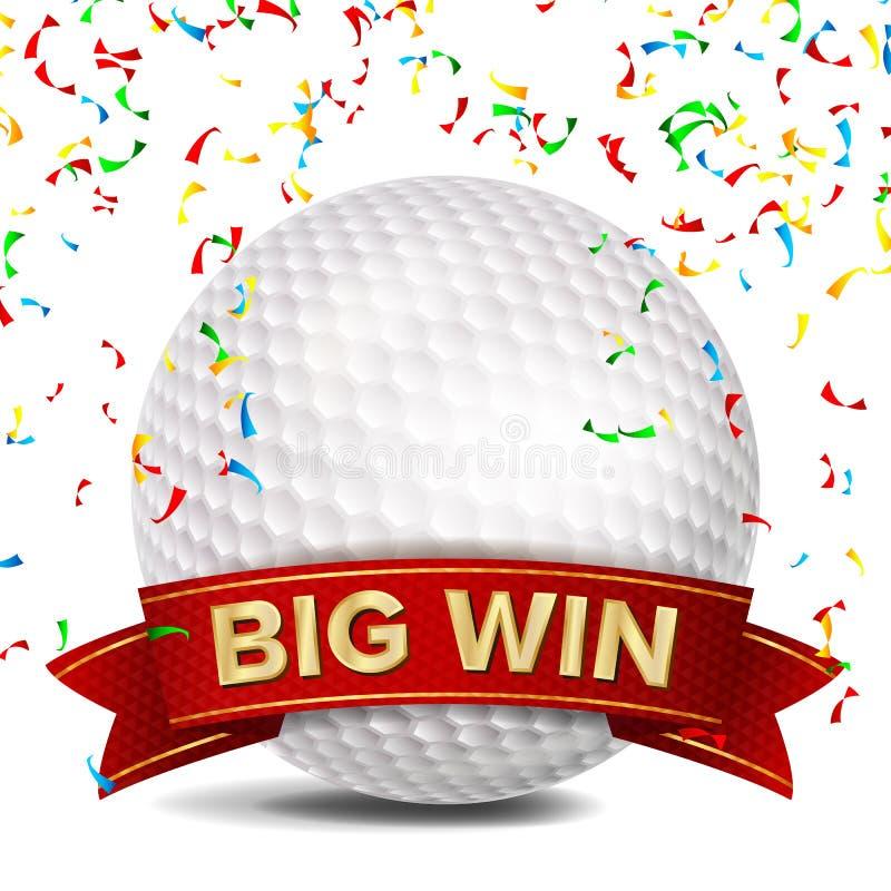 Golfutmärkelsevektor rött band E Vit klumpa ihop sig Falla för konfettier Isolerat realistiskt stock illustrationer