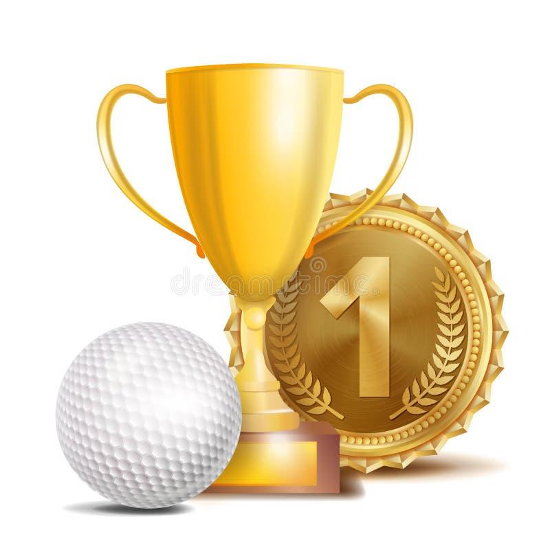 Golfutmärkelsevektor Sportbanerbakgrund Vit boll, guld- vinnaretrofékopp, guld- 1st ställemedalj realistisk 3D royaltyfri illustrationer