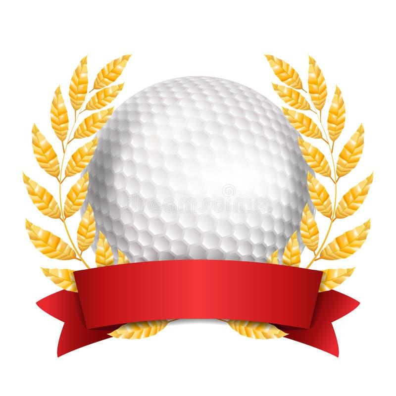 Golfutmärkelsevektor Sportbanerbakgrund Vit boll, rött band, Laurel Wreath realistisk isolerad illustration 3D royaltyfri illustrationer