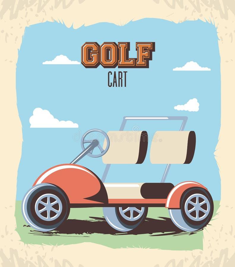 Golfvagn i klubban royaltyfri illustrationer