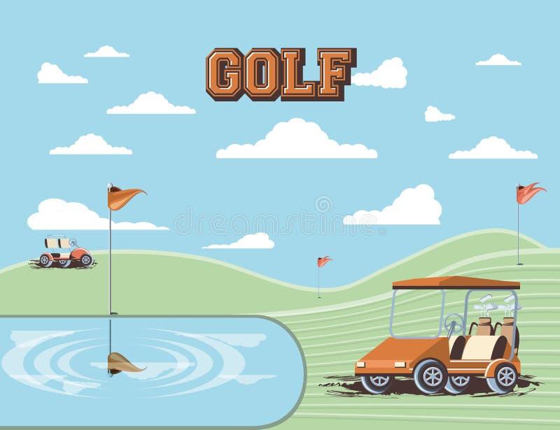 Golfvagn i klubban stock illustrationer