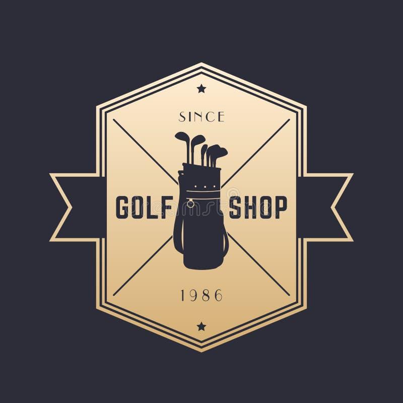 Golfwinkel, uitstekend embleem, vectorembleem op dark vector illustratie