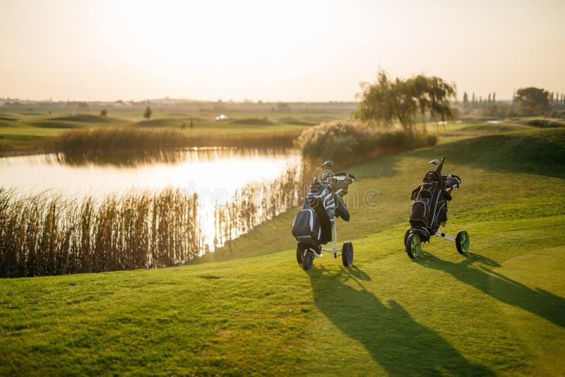 golfzakken op groen royalty-vrije stock foto's