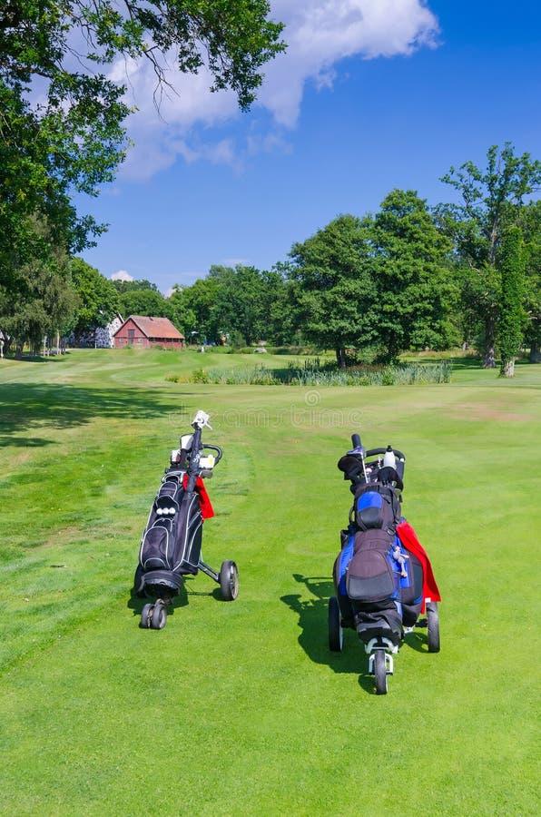 Golfzakken op Zweedse golfcursus stock foto's