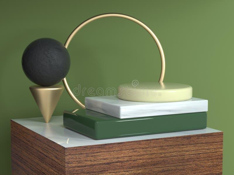 Golg okręgu ramy brązu tekstury kwadrata podium kształta wciąż kruszcowego drewnianego abstrakcjonistycznego geometrycznego życia ilustracja wektor