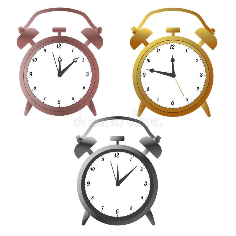 Golg, silver and bronze alarm clocks. Vector illustration royalty free illustration