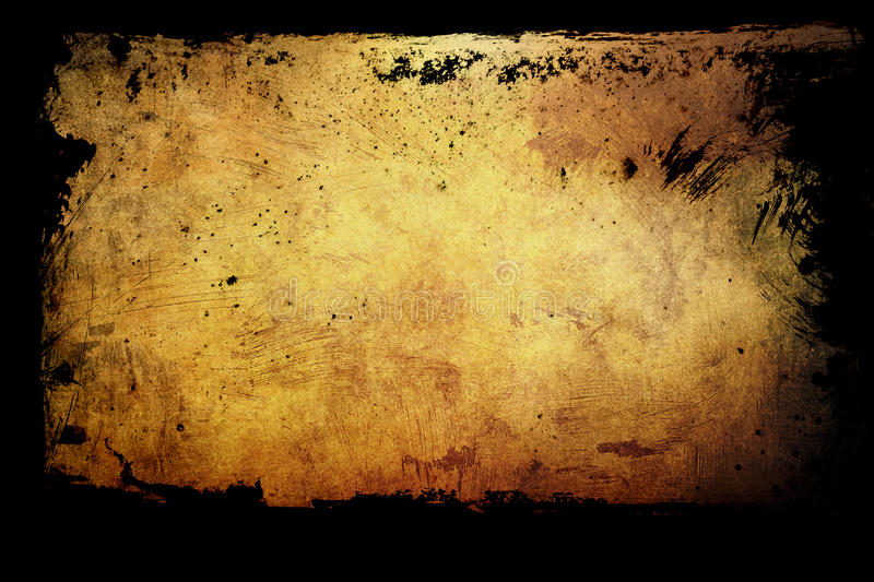 Golgen grunge background. With frame royalty free stock photo