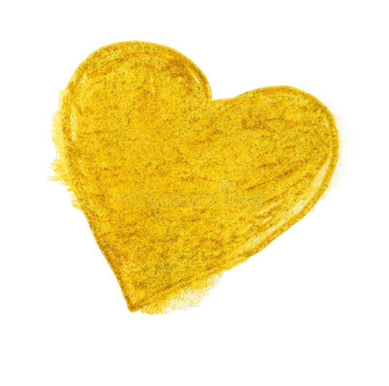 Golgen hjärta på vit bakgrund arkivbild