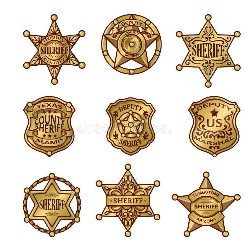 Golgen Sheriff Badges. With stars and shields ribbons flourishes laurel on white background isolated vector illustration stock illustration