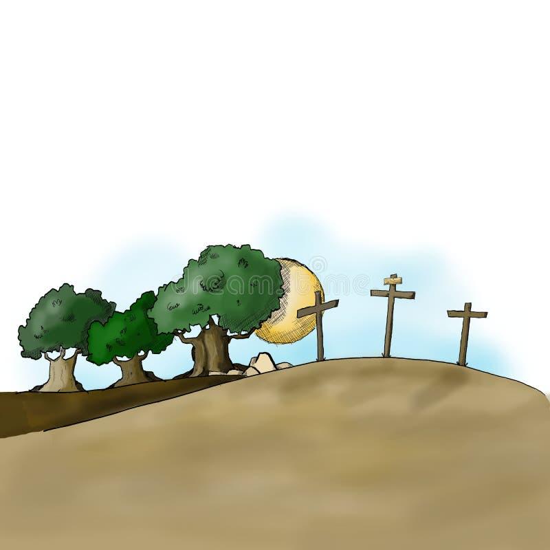 Golgotha och Mountet of Olives stock illustrationer