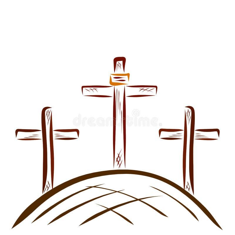 Golgotha y las tres cruces ilustración del vector