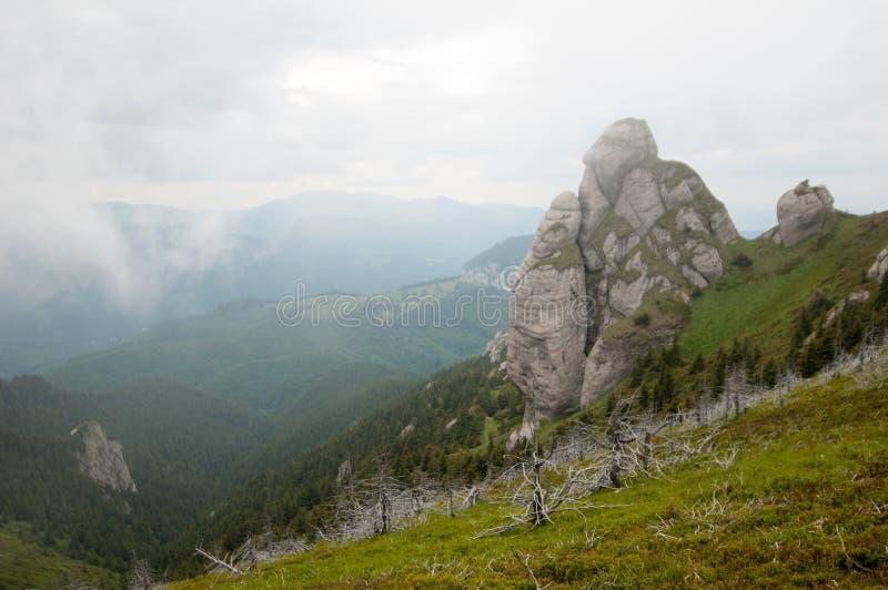 Goliat Tower i Ciucas berg, rumänska Carpathians arkivbild