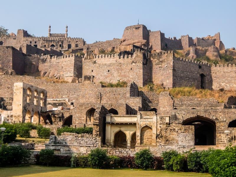 Golkonda堡垒建筑学,海得拉巴,印度 免版税库存照片