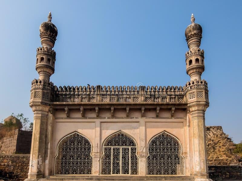 Golkonda堡垒建筑学,海得拉巴,印度 库存图片