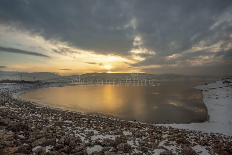 Golkoy / Bolu / Turkey, winter season landscape in sunset.  royalty free stock image