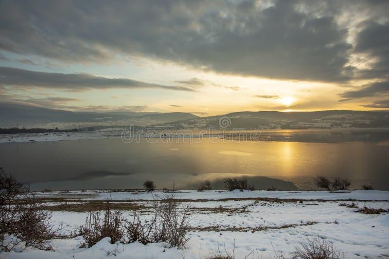 Golkoy / Bolu / Turkey, winter season landscape in sunset.  royalty free stock photos