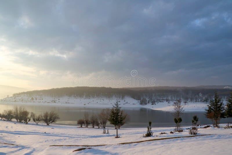 Golkoy / Bolu / Turkey, winter season snow landscape.  royalty free stock photo