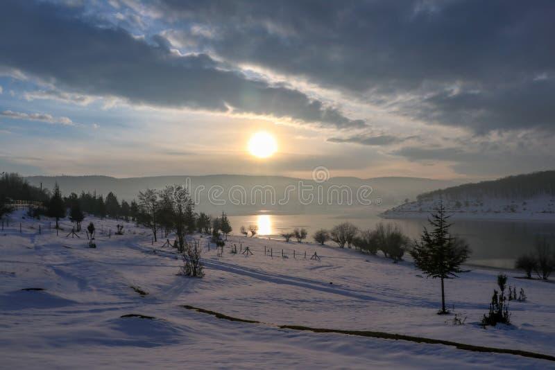 Golkoy / Bolu / Turkey, winter season snow landscape.  stock photo