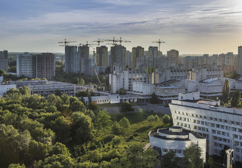 Golosievsky district Kiev, landscape panoramic view of the city royalty free stock photography