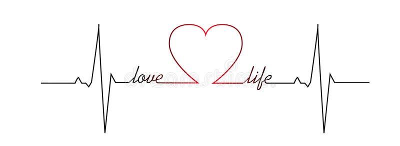 Golpe de corazón de la vida del amor ilustración del vector