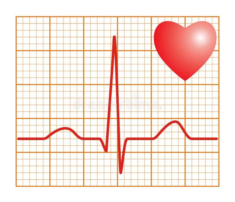 Golpe de corazón electrónico del cardiograma ECG ilustración del vector