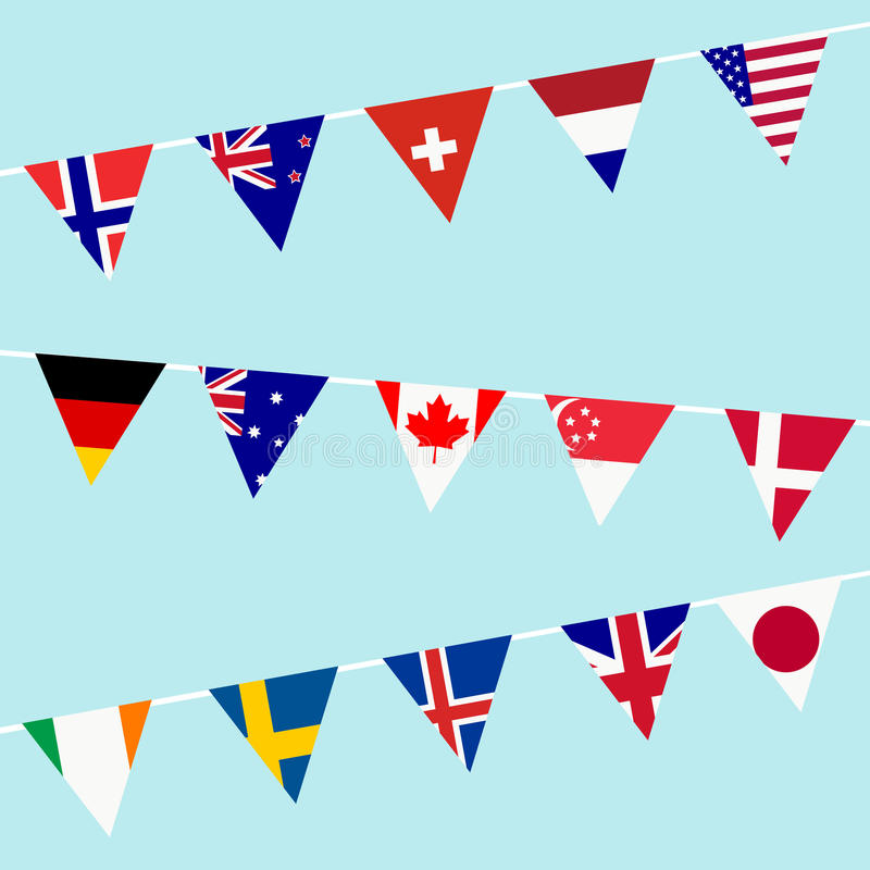 Golpe ligero con las banderas de los países desarrollados del mundo stock de ilustración