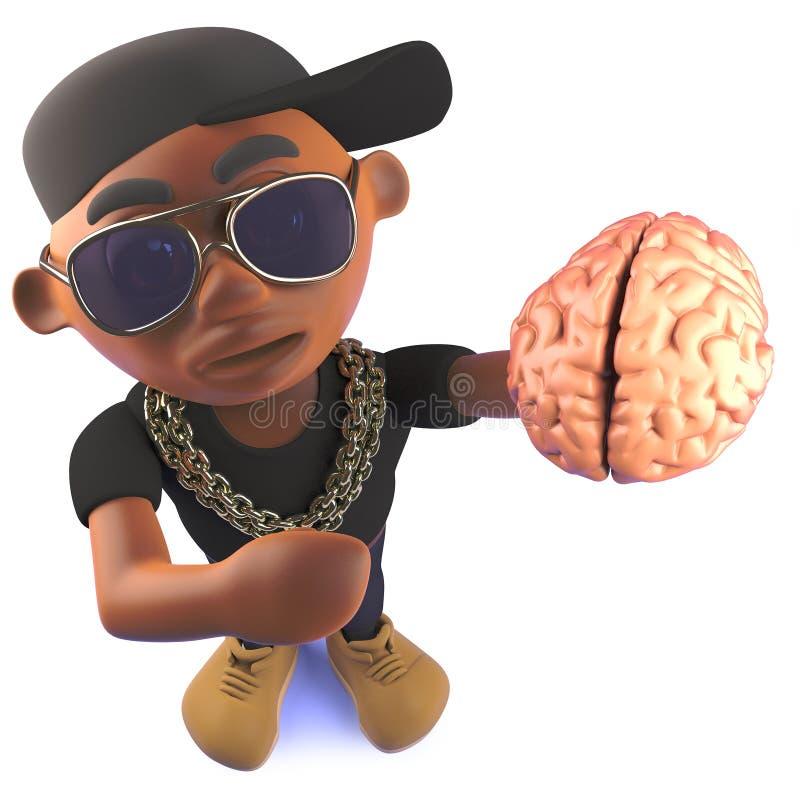 Golpeador afroamericano del hip-hop del negro de la historieta que sostiene un cerebro, ejemplo 3d ilustración del vector