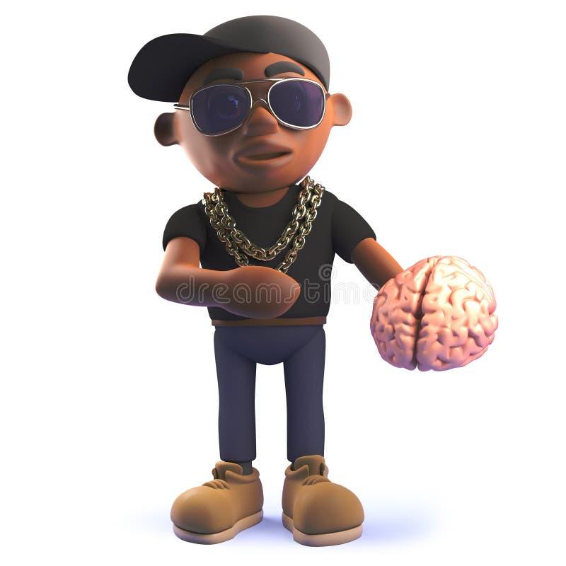 Golpeador afroamericano negro de hiphop de la historieta que sostiene un cerebro humano stock de ilustración