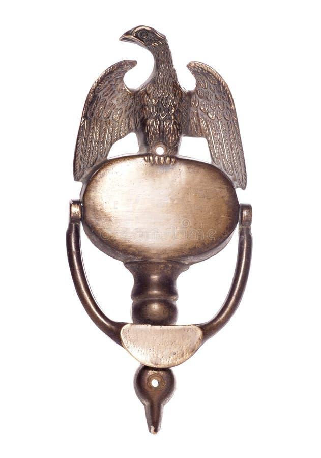 Golpeador de puerta de cobre amarillo del águila fotografía de archivo libre de regalías