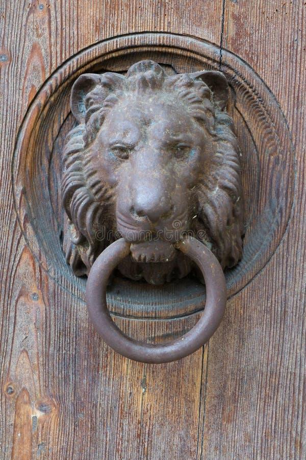 Golpeador de puerta del león fotos de archivo libres de regalías