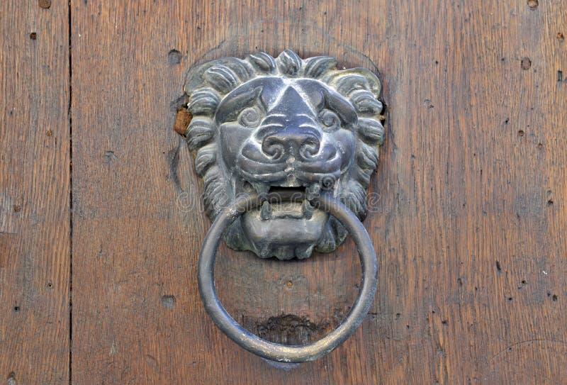 Golpeador de puerta del león en puerta de madera vieja imágenes de archivo libres de regalías