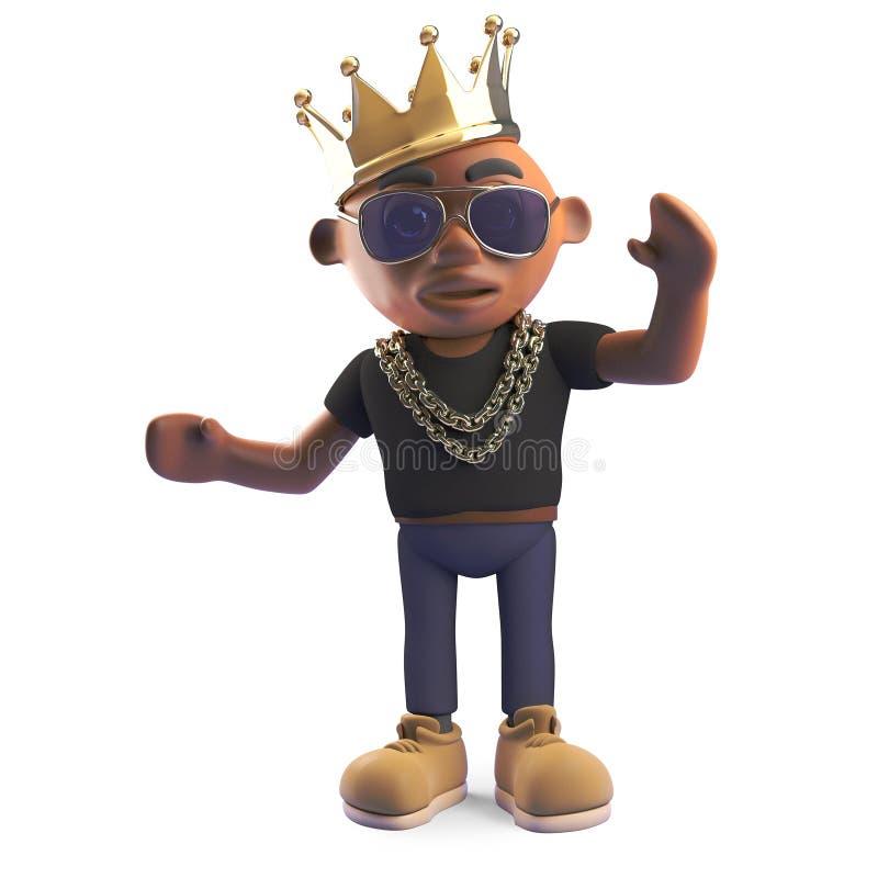 Golpeador en una corona real del oro, de hiphop del negro del campeón ejemplo 3d ilustración del vector