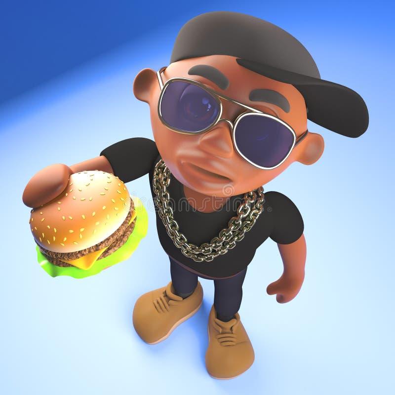 Golpeador negro hambriento de hiphop que come un bocado delicioso de la hamburguesa del queso, ejemplo 3d stock de ilustración