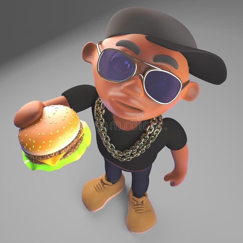 Golpeador negro hambriento de hiphop que come un bocado de la hamburguesa del queso, ejemplo 3d stock de ilustración