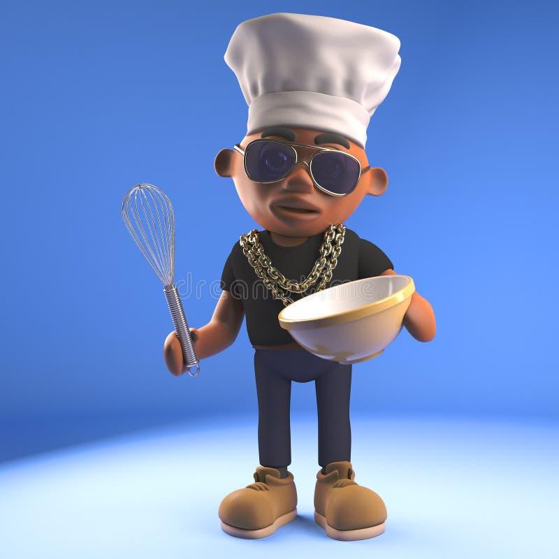 Golpeador negro hambriento de hiphop que mezcla una torta en un cuenco mientras que lleva el sombrero de los cocineros, ejemplo 3 stock de ilustración