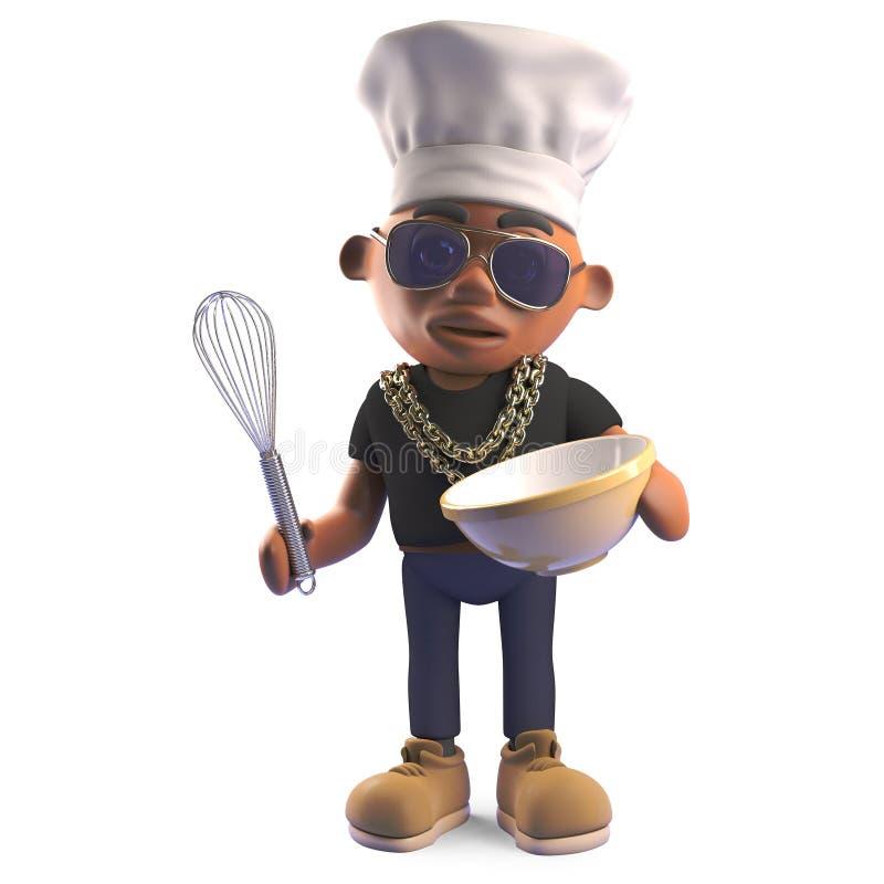 Golpeador negro hambriento del hip-hop en el sombrero de los cocineros que mezcla una torta en un cuenco con un batidor, ejemplo  ilustración del vector