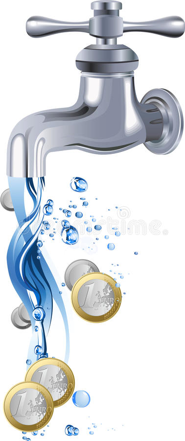 Golpecito de agua. stock de ilustración