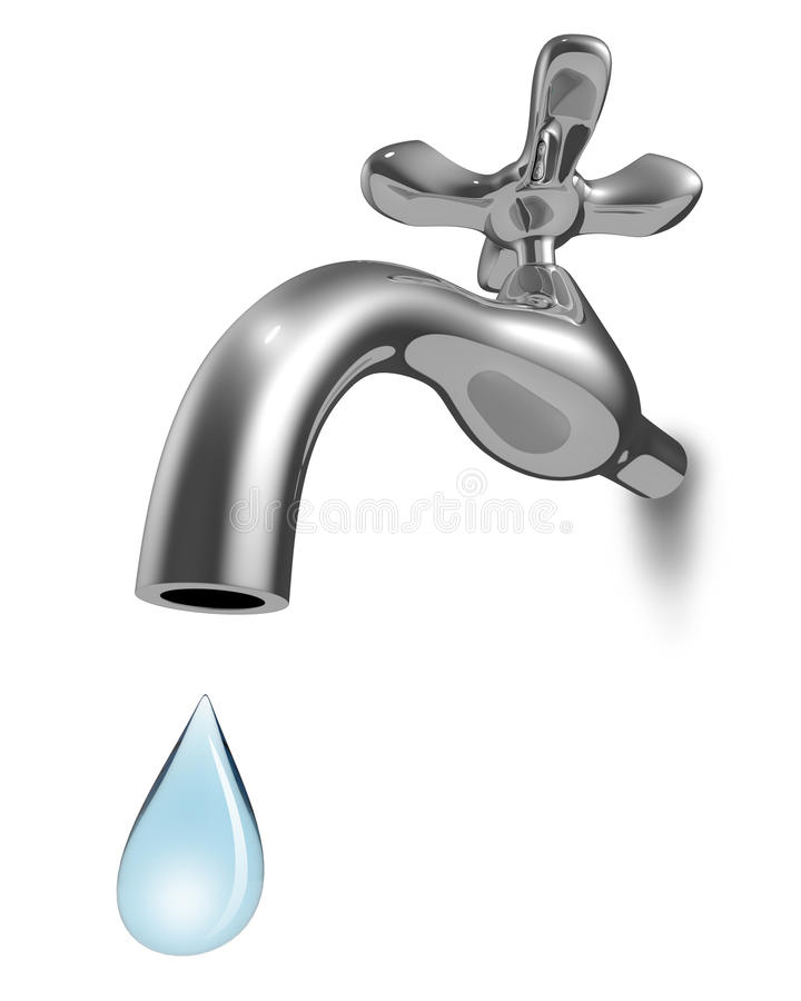 Golpecito de agua de Chrome con el descenso azul stock de ilustración