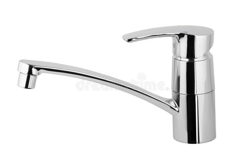 Golpecito de agua, grifo para el cuarto de baño, agua caliente fría del mezclador de la cocina Chrome plateó el metal Aislado en  fotos de archivo
