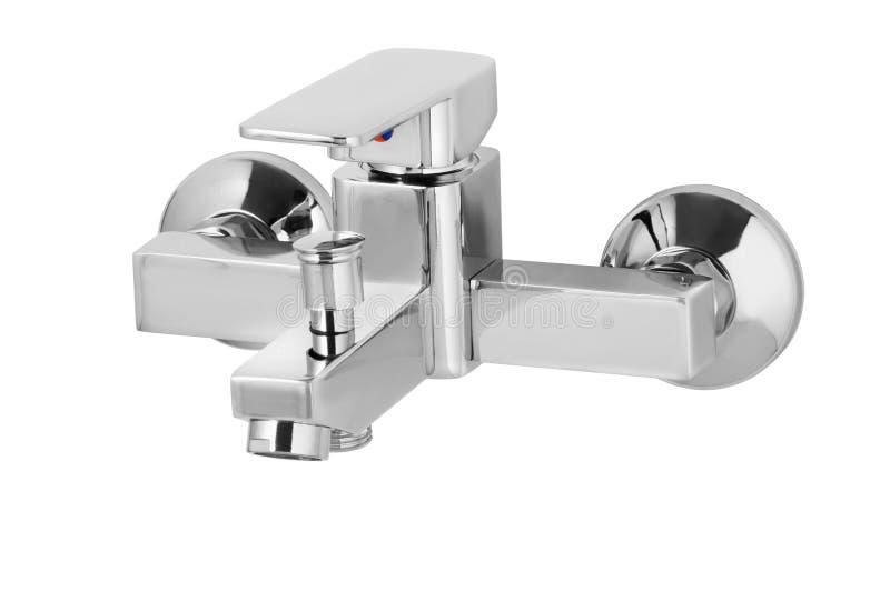 Golpecito de agua, grifo para el cuarto de baño, agua caliente fría del mezclador de la cocina Chrome plateó el metal Aislado en  foto de archivo libre de regalías