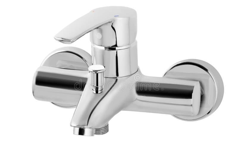 Golpecito de agua, grifo para el cuarto de baño, agua caliente fría del mezclador de la cocina Chrome plateó el metal Aislado en  imagen de archivo libre de regalías