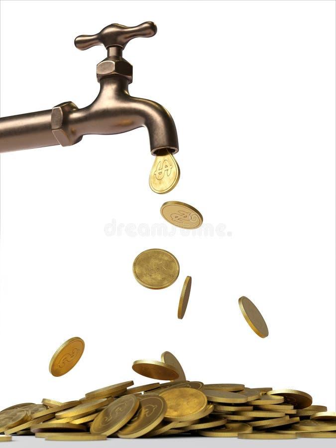 Golpecito de goteo con las monedas de oro ilustración del vector