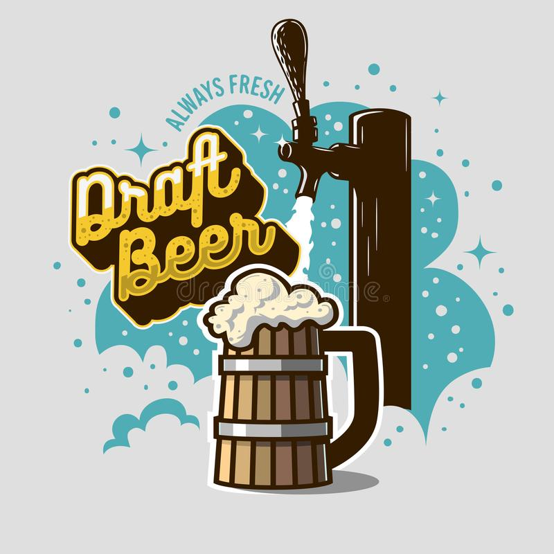 Golpecito de la cerveza de barril con la taza de madera o una jarra de cerveza de la cerveza con el ejemplo de la espuma Diseño d ilustración del vector