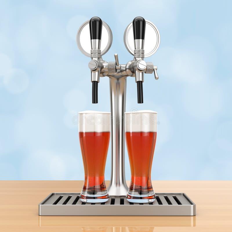 Golpecito de la cerveza de la barra con los vidrios de cerveza representación 3d stock de ilustración