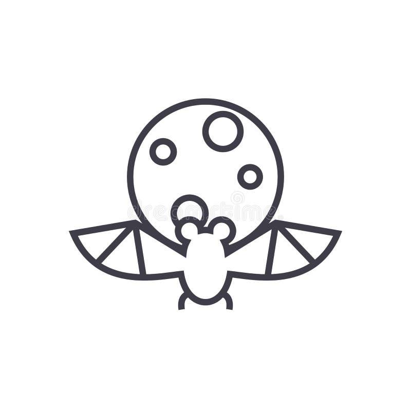 Golpee, línea icono, muestra, ejemplo del vector de la Luna Llena en el fondo, movimientos editable libre illustration