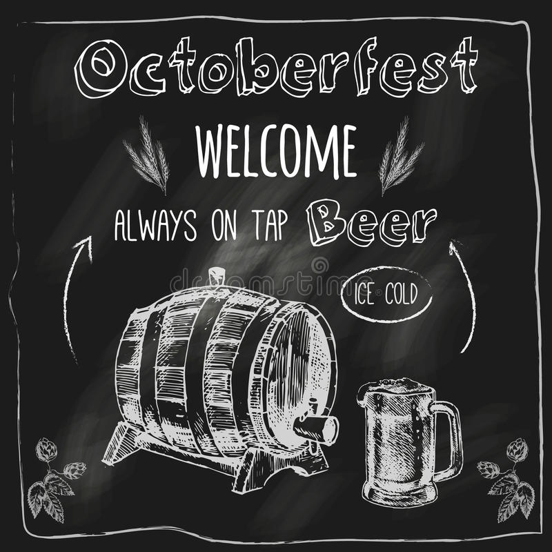 Golpee ligeramente el cartel de la pizarra del diseño de la cerveza libre illustration
