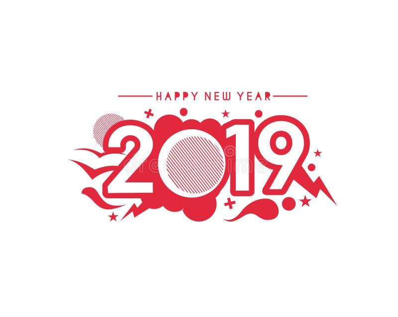 Golpeteo del diseño del texto de la Feliz Año Nuevo 2019 ilustración del vector